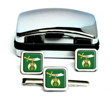 The Ancient Arabic Order of the Nobles of the Mystic Shrine Square Cufflink and Tie Clip Set