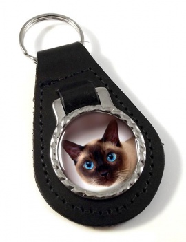 Siamese Cat Leather Key Fob