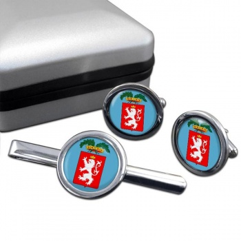 Siena (Italy) Round Cufflink and Tie Clip Set