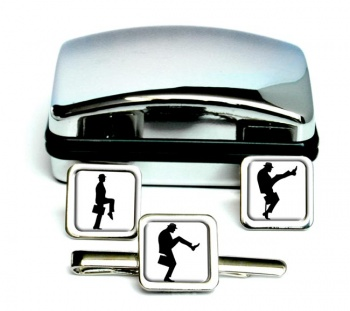 Ministry of Silly Walks Square Cufflink and Tie Clip Set