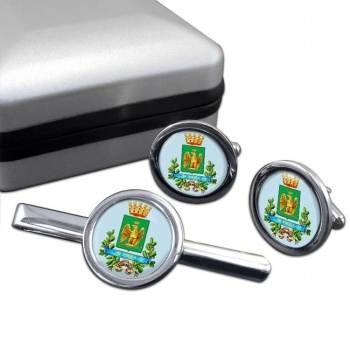 Siracusa (Italy) Round Cufflink and Tie Clip Set