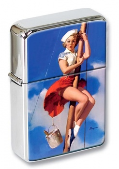 Sitting Pretty Pin-up Girl Flip Top Lighter