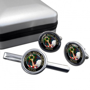 Skene Scottish Clan Round Cufflink and Tie Clip Set