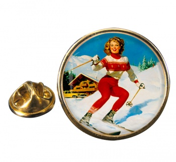 Skiier Round Pin Badge