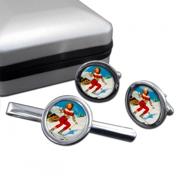 Skiier Round Cufflink and Tie Clip Set