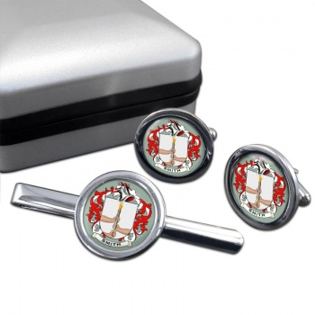 Smith Ireland Coat of Arms Round Cufflink and Tie Clip Set