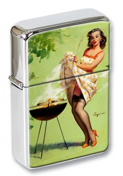 Smoke Screen Pin-up Girl Flip Top Lighter