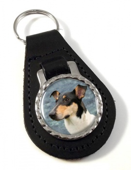 Smooth Collie Leather Key Fob