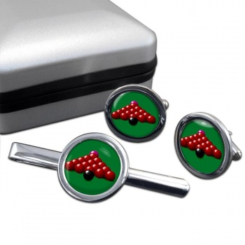Snooker Round Cufflink and Tie Clip Set