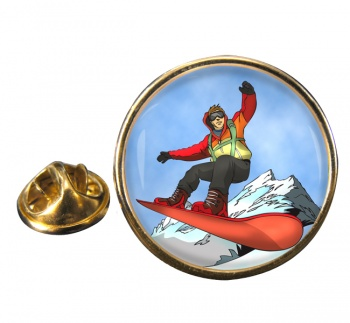 Snowboard Round Pin Badge