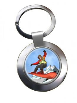 Snowboard Chrome Key Ring
