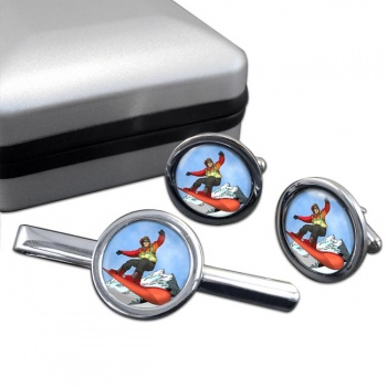 Snowboard Round Cufflink and Tie Clip Set