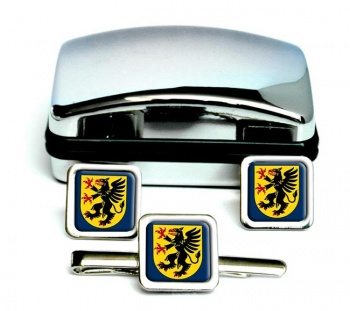 Sodermanland (Sweden) Square Cufflink and Tie Clip Set