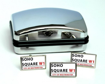 Soho Square Rectangle Cufflink and Tie Pin Set