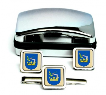 Somogy County Square Cufflink and Tie Clip Set