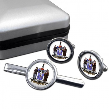 Southend-on-Sea (England) Round Cufflink and Tie Clip Set