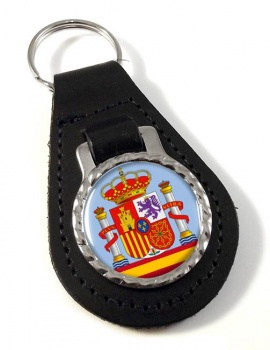 Coat of Arms Escudo de Espana (Spain) Leather Key Fob