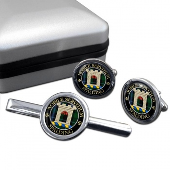 Spalding Scottish Clan Round Cufflink and Tie Clip Set