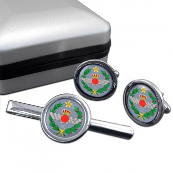 Spanish Air Force (Ejército del Aire) Round Cufflink and Tie Clip Set