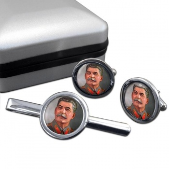Joseph Stalin Round Cufflink and Tie Clip Set