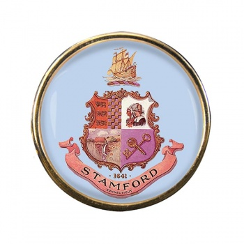 Stamford CT Round Pin Badge