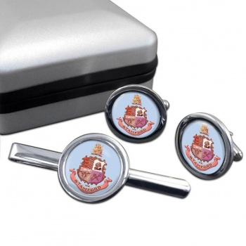 Stamford CT  Round Cufflink and Tie Clip Set