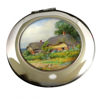 Two Cottages by Lilian Stannard Round Mirror