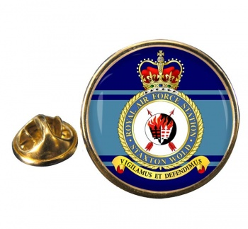 RAF Station Staxton Wold Round Pin Badge
