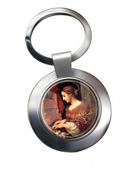 St. Cecilia Leather Chrome Key Ring
