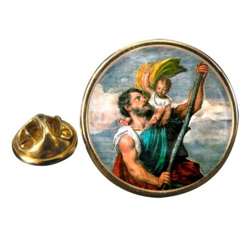 St. Christopher Round Pin Badge
