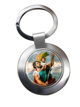 St. Christopher Leather Chrome Key Ring