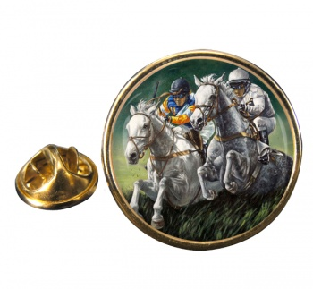 Steeplechase Round Pin Badge