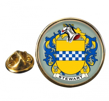 Stewart Coat of Arms Round Pin Badge