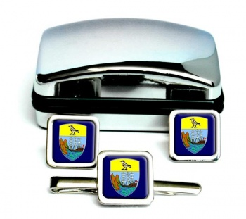 Saint Helena Square Cufflink and Tie Clip Set