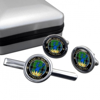 Stirling Scottish Clan Round Cufflink and Tie Clip Set