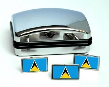 Saint Lucia Flag Cufflink and Tie Pin Set