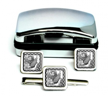 Lion of St. Mark Square Cufflink and Tie Clip Set
