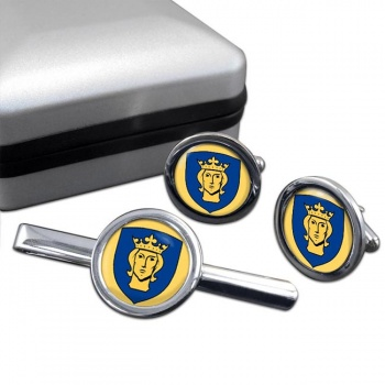 Stockholm (Sweden) Round Cufflink and Tie Clip Set