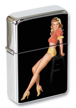 Pin-up Girl on a Stool Flip Top Lighter
