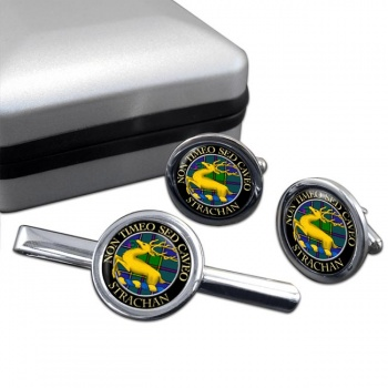 Strachan Scottish Clan Round Cufflink and Tie Clip Set