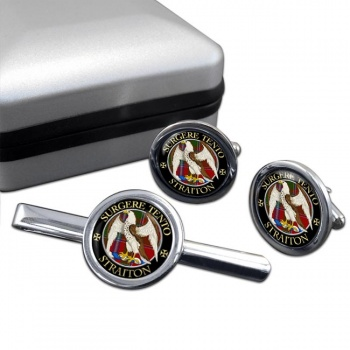Straiton Scottish Clan Round Cufflink and Tie Clip Set