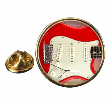 Stratocaster Guitar Round Pin Badge