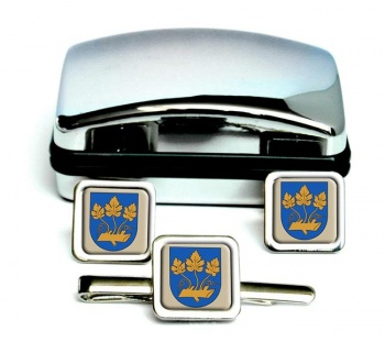 Stavanger (Norway) Square Cufflink and Tie Clip Set