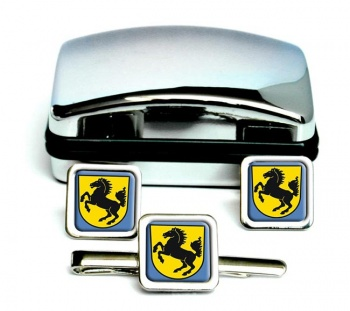 Stuttgart (Germany) Square Cufflink and Tie Clip Set