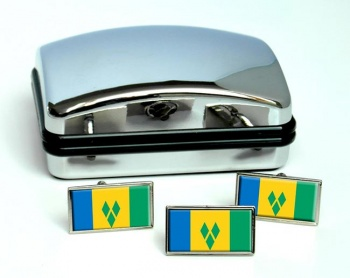 Saint Vincent and the Grenadines Flag Cufflink and Tie Pin Set