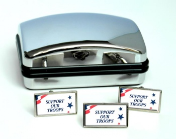 Support Our Troops Rectangle Cufflink and Tie Pin Set