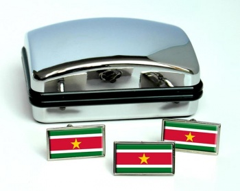 Suriname Flag Cufflink and Tie Pin Set