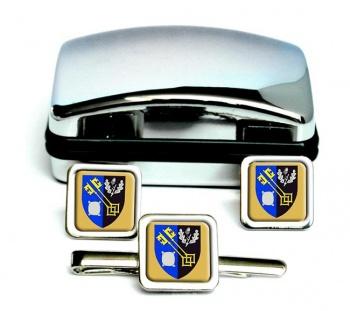 Surrey (England) Square Cufflink and Tie Clip Set
