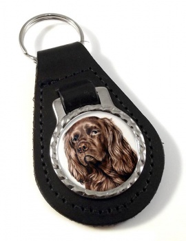 Sussex Spaniel Leather Key Fob