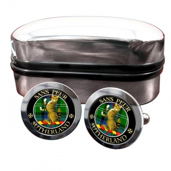 Sutherland Scottish Clan Round Cufflinks